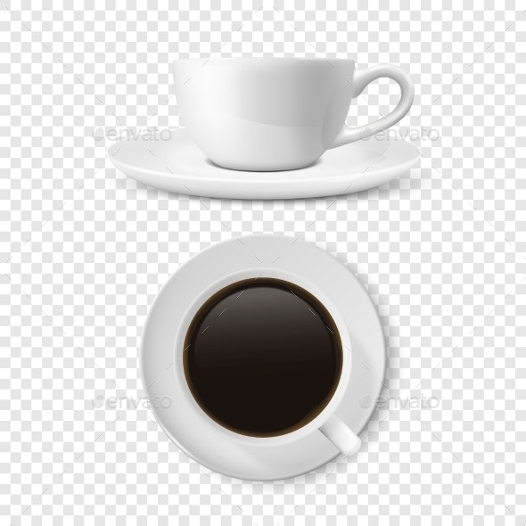 Realistic Blank White Coffee Cup - Food Objects