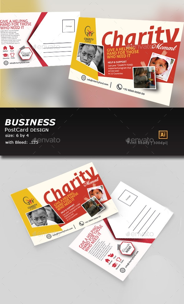 Kids Charity Post Card Template - Flyers Print Templates