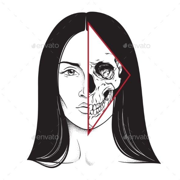Brunette with Half Skull Face