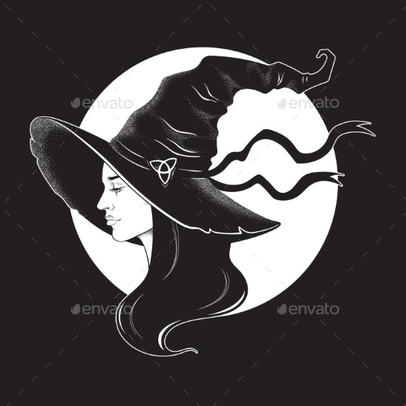 Brunette Witch in Pointy Hat