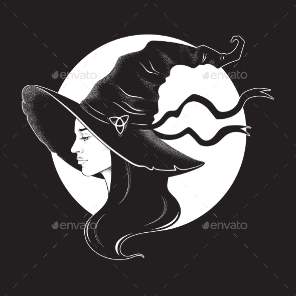 Brunette Witch in Pointy Hat - Miscellaneous Characters