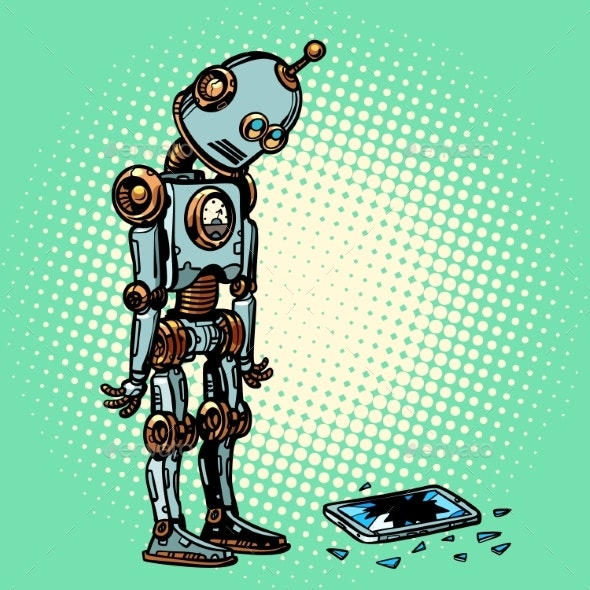 Robot and Broken Phone Screen - Computers Technology