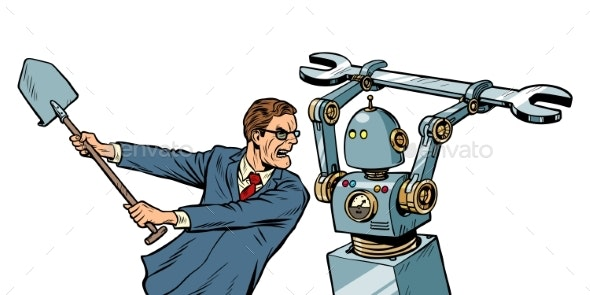 Man Fights with a Robot - Computers Technology