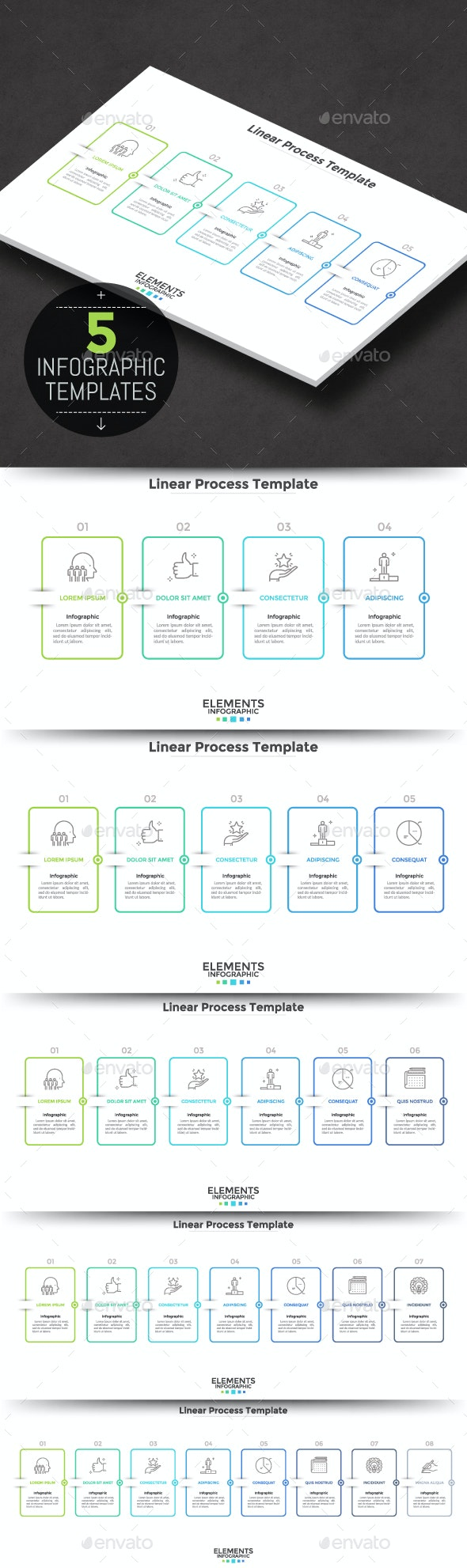 5 Minimal Linear Process Infographic Templates - Infographics