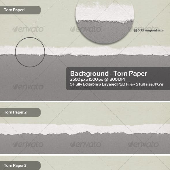 Torn Paper Backgrounds / Textures - 5 Themes