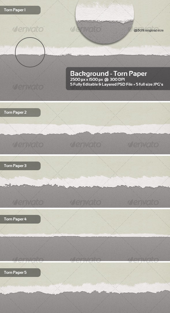 Torn Paper Backgrounds / Textures - 5 Themes - Backgrounds Graphics