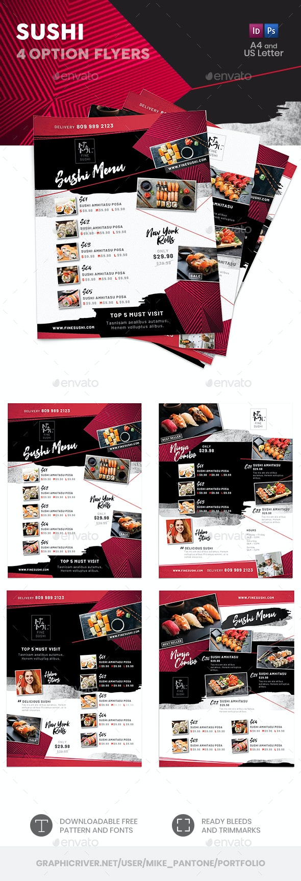 Sushi Menu Flyers 4 – 4 Options - Food Menus Print Templates
