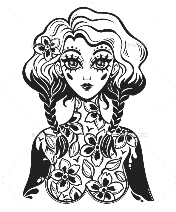 Girl with Body of Flowers - People Characters