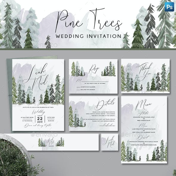 Pine Trees Wedding Invitation