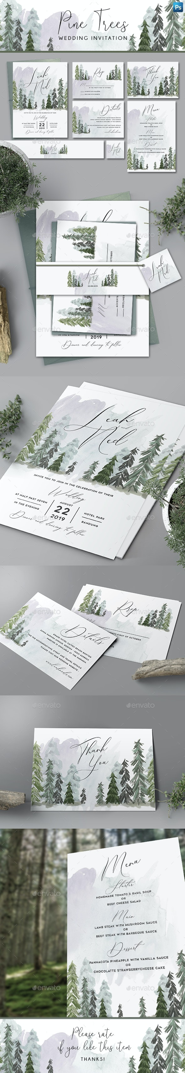 Pine Trees Wedding Invitation - Weddings Cards & Invites