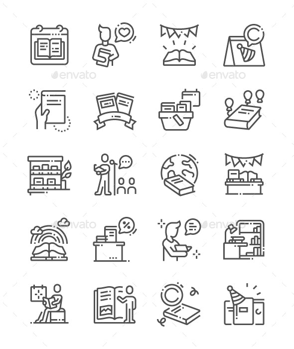 World Book and Copyright Day Line Icons - Miscellaneous Characters