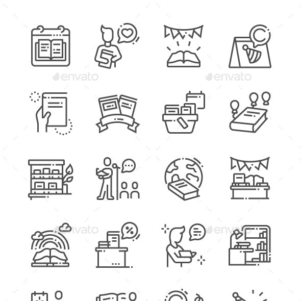 World Book and Copyright Day Line Icons
