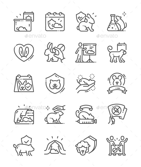 World Day for Laboratory Animals Line Icons - People Characters