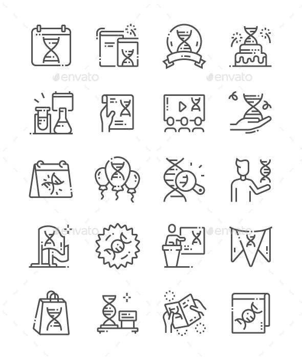 DNA Day Line Icons - People Characters