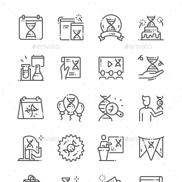 DNA Day Line Icons