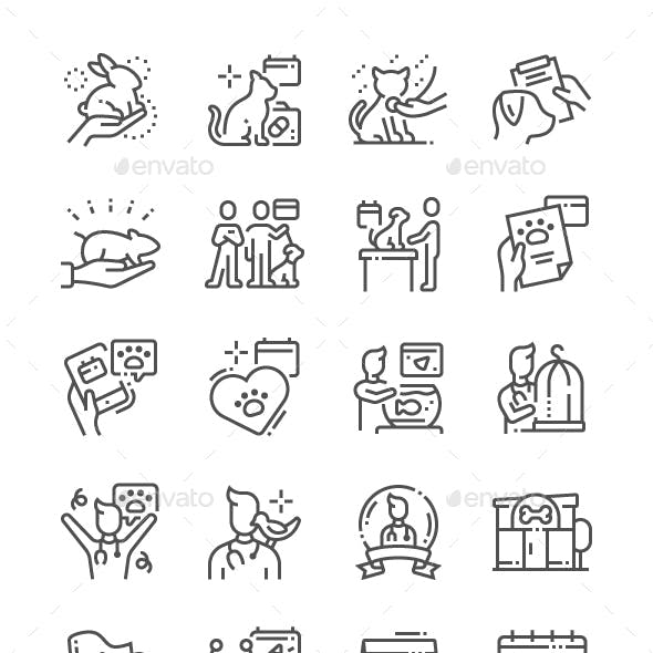 World Veterinary Day Line Icons