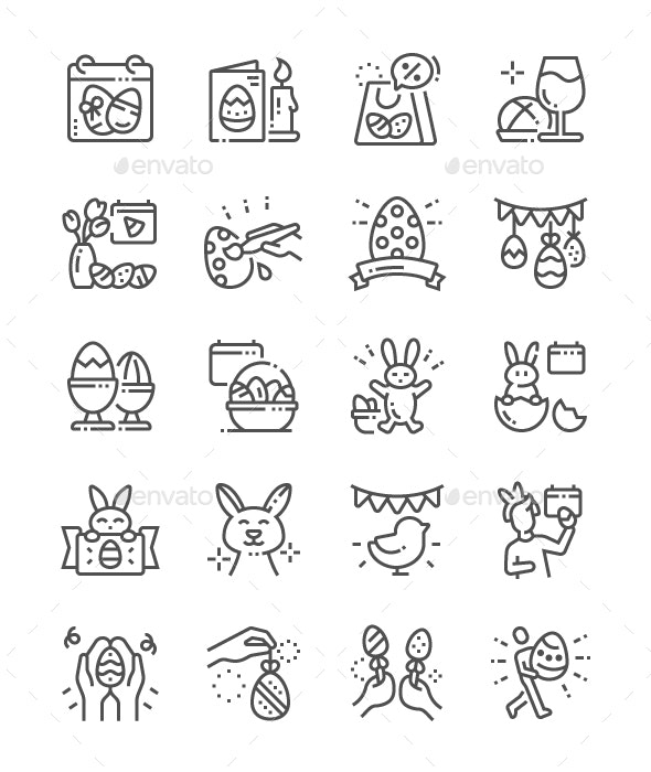 Easter Line Icons - Miscellaneous Characters