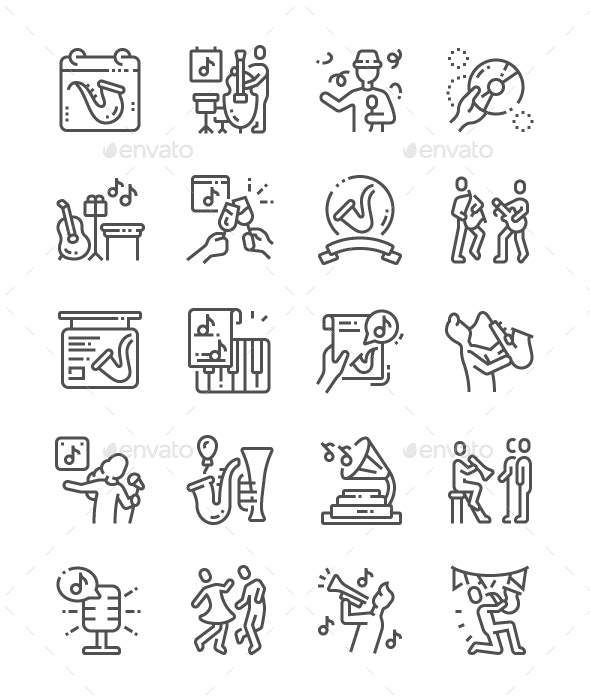 International Jazz Day Line Icons - People Characters