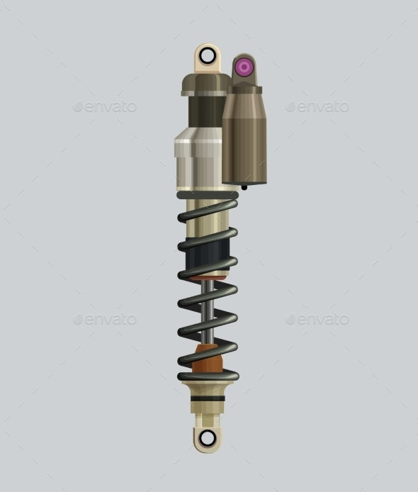 Realistic Shock Absorber Isolated Vector - Industries Business