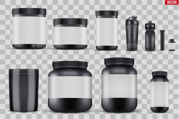 Set Mockup Sport Nutrition Containers - Sports/Activity Conceptual