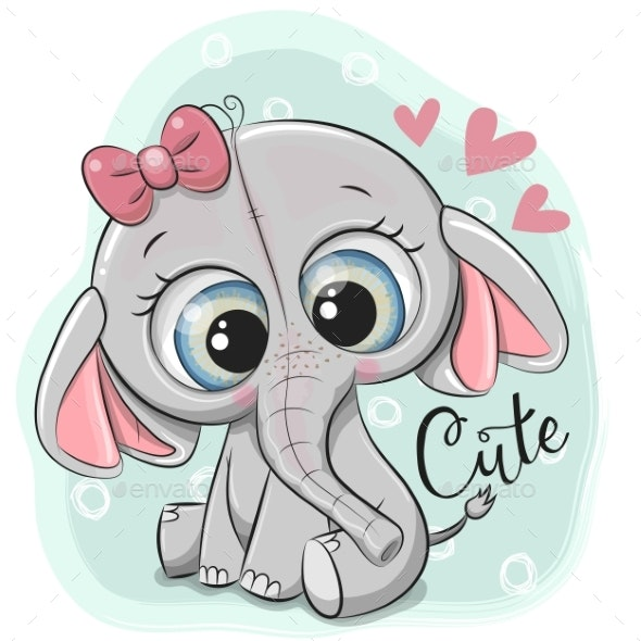 Greeting Card Elephant Girl - Miscellaneous Vectors