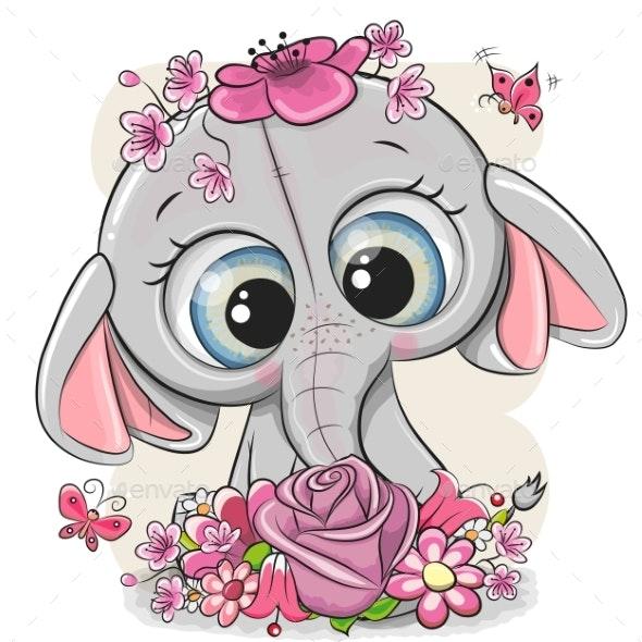 Cartoon Elephant with Flowers - Miscellaneous Vectors