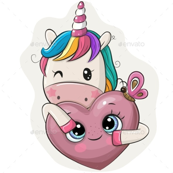 Cartoon Unicorn with Heart - Miscellaneous Vectors