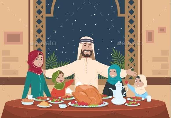 Muslim Ramadan Dinner. Saudi Family with Kids - People Characters