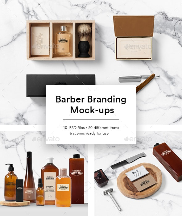 Cosmetics Packaging Mock-ups for Barber Shop - Beauty Packaging