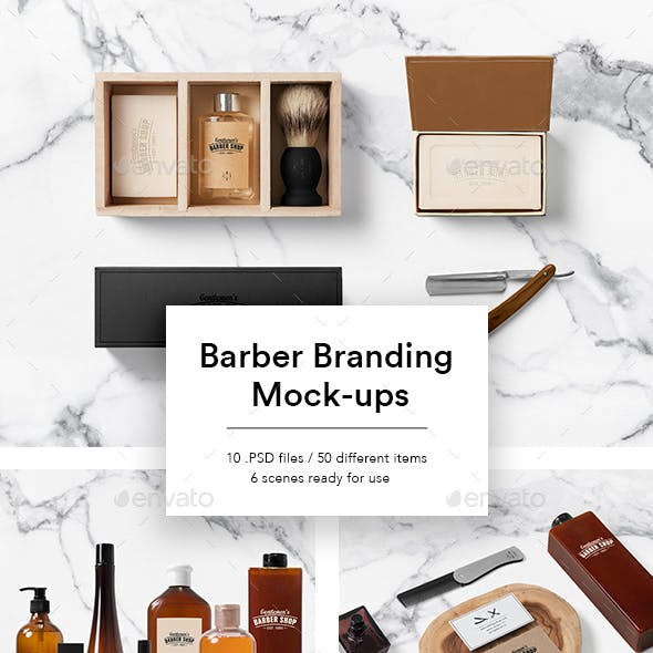 Cosmetics Packaging Mock-ups for Barber Shop