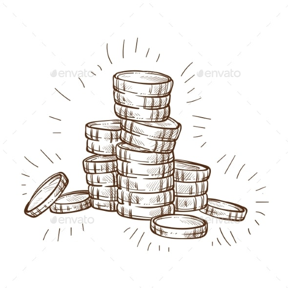 Shiny Coins Stack Isolated Sketch Metal Cash - Concepts Business