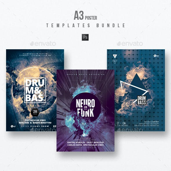 Drum and Bass vol.4 - Party Flyer / Poster Templates Bundle