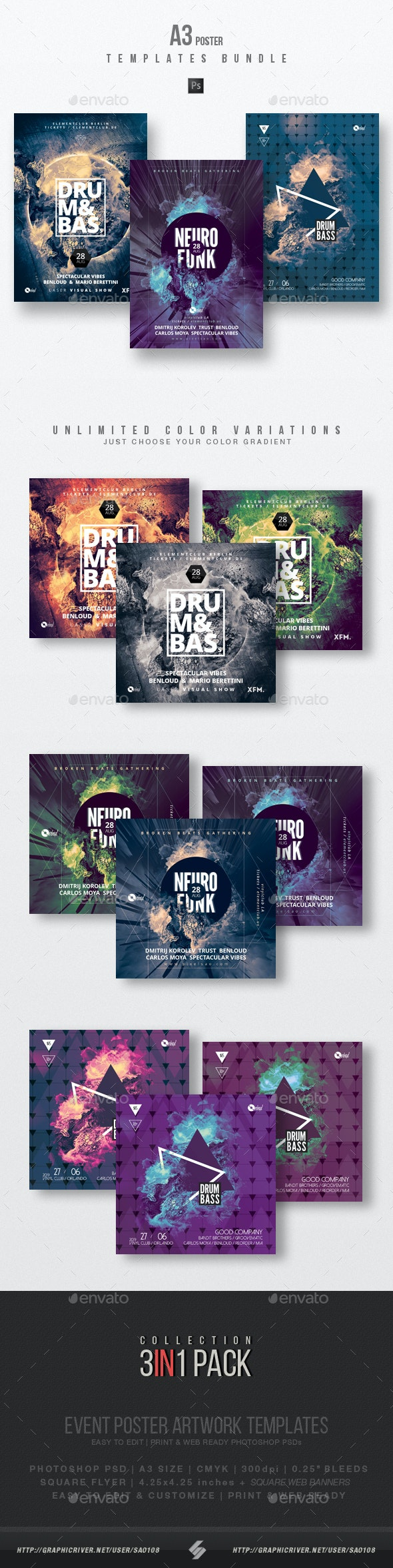 Drum and Bass vol.4 - Party Flyer / Poster Templates Bundle - Clubs & Parties Events