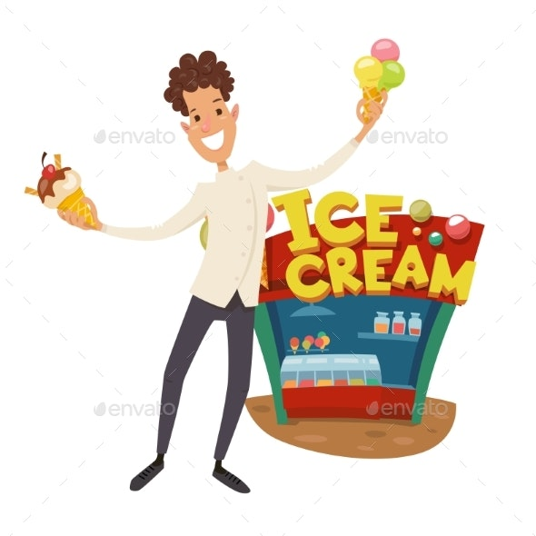 Chef Character Standing Near Ice Cream Shop - Food Objects