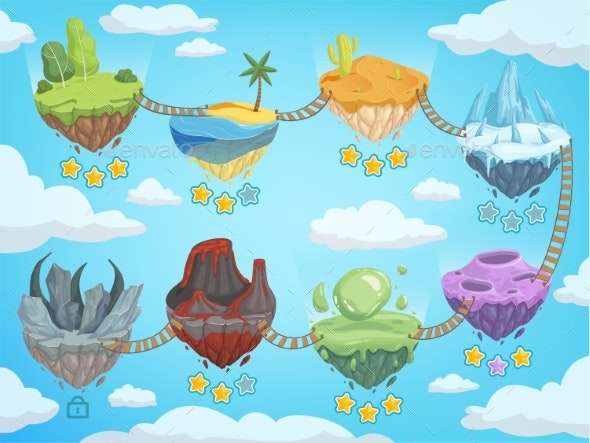 Game Level Map. Mobile Ui Stages with Various - Miscellaneous Vectors