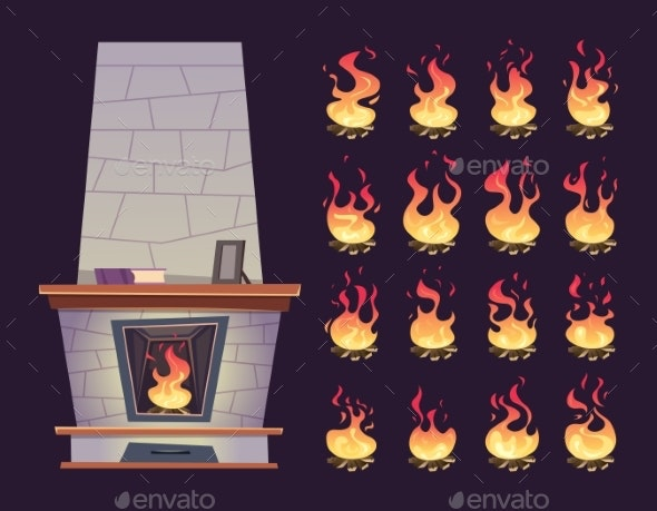 Interior Fireplace. Keyframe Animation of Burning - Miscellaneous Vectors
