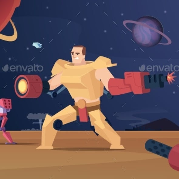 Future Combat Robots. Cyber War Futuristic