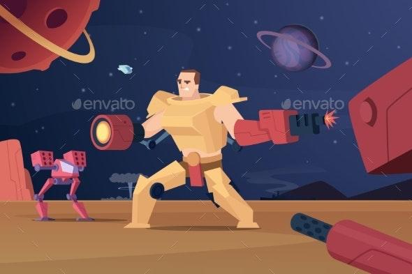 Future Combat Robots. Cyber War Futuristic - Characters Vectors