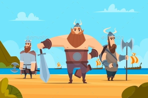Viking Warriors Background. Medieval Authentic - Characters Vectors