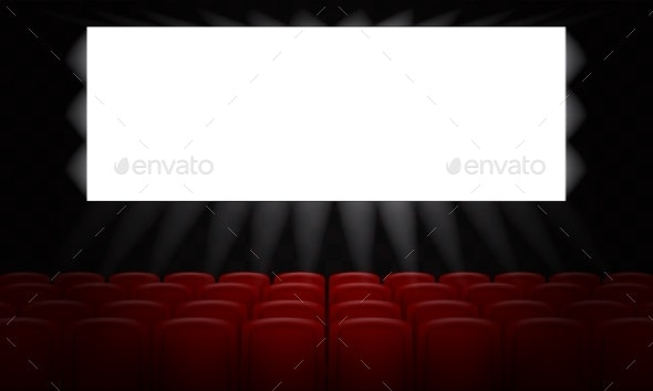 Movie Cinema with Empty White Screen for Poster - Man-made Objects Objects
