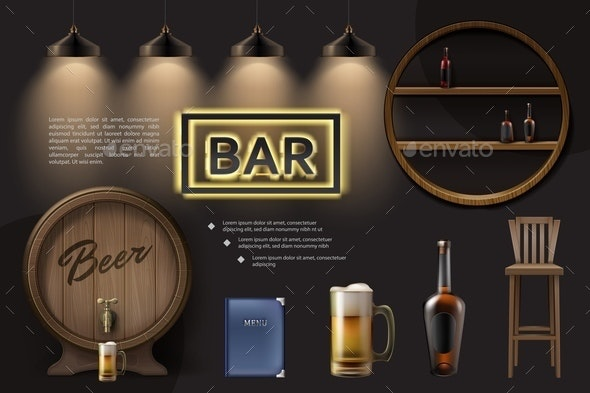 Realistic Pub Elements Composition - Miscellaneous Vectors