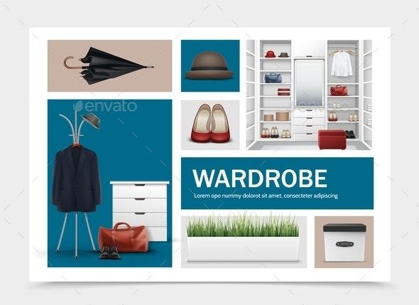 Realistic Cloakroom Elements Set - Miscellaneous Vectors
