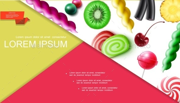 Realistic Sweet Products Composition - Food Objects