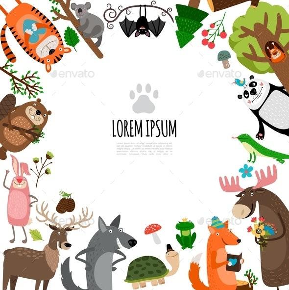 Flat Zoo Animals Concept - Flowers & Plants Nature