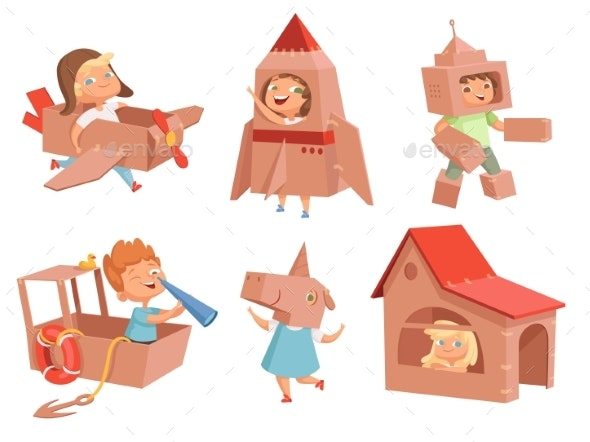 Cardboard Kids Playing. Childrens Games with Paper - People Characters