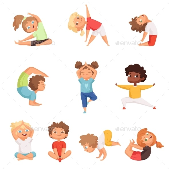 Yoga Kids Characters. Fitness Sport Childrens - People Characters
