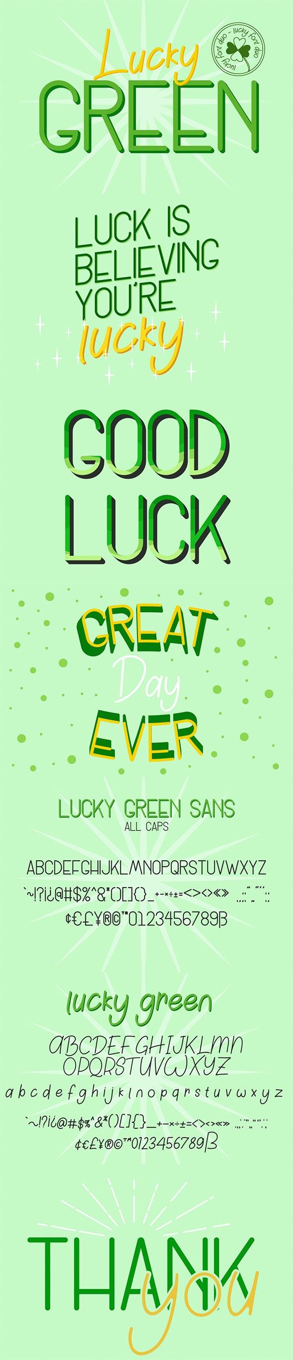 Lucky Green Font Duo - Hand-writing Script