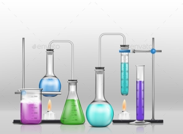 Chemical Laboratory Experiment Cartoon Vector - Man-made Objects Objects