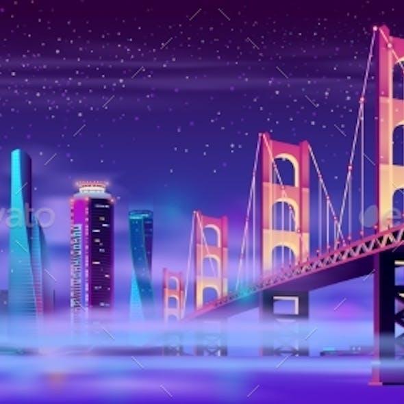 Vector Hinged Bridge in Megapolis with Mist