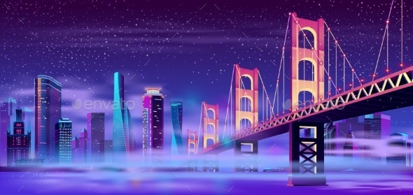 Vector Hinged Bridge in Megapolis with Mist - Buildings Objects